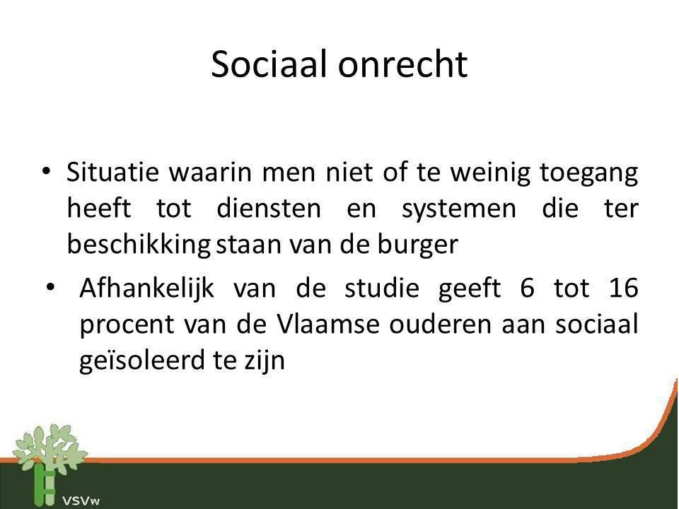 Sociaal onrecht • Situatie waarin men niet of te weinig toegang heeft tot diensten en systemen die ter beschikking staan van de burger • Afhankelijk v