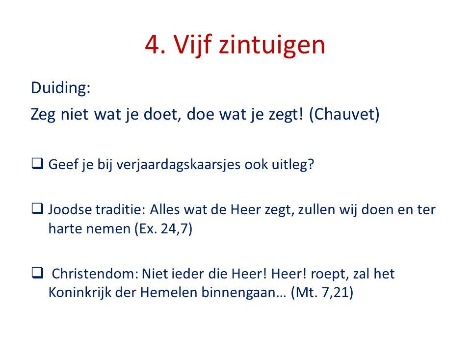 4.Vijf zintuigen Duiding: Zeg niet wat je doet, doe wat je zegt.