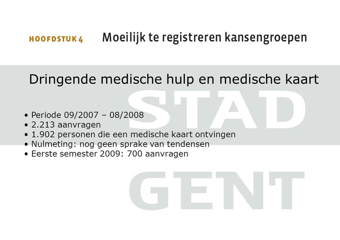 Dringende medische hulp en medische kaart • Periode 09/2007 – 08/2008 • 2.213 aanvragen • 1.902 personen die een medische kaart ontvingen • Nulmeting: nog geen sprake van tendensen • Eerste semester 2009: 700 aanvragen