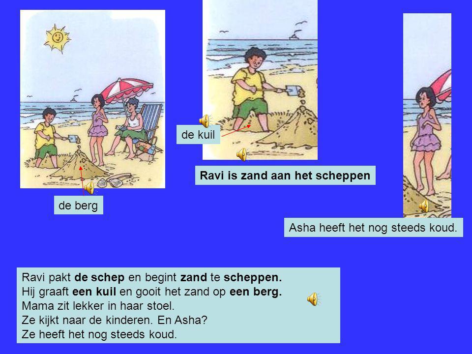 Als ze op het strand zijn, gaat Ravi gelijk de zee in. 'Kom je ook?', roept ravi. 'Eh nee, ik heb het koud', zegt Asha. En ze bibbert….brrrrr. 'De zon