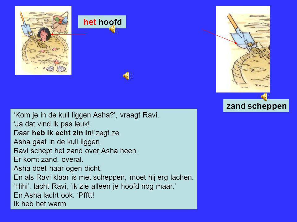 Ravi pakt de schep en begint zand te scheppen. Hij graaft een kuil en gooit het zand op een berg. Mama zit lekker in haar stoel. Ze kijkt naar de kind