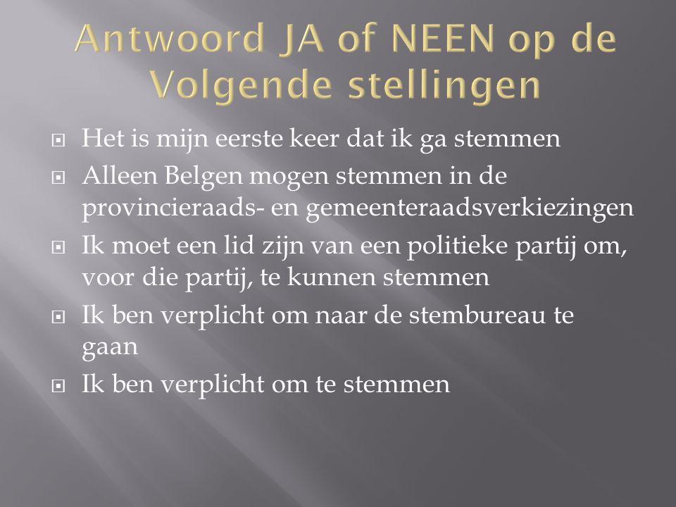 JA en NEEN Voor de Provincieraad:  Belg zijn  Minimum = 18 jaar op de dag van de verkiezingen  Ingeschreven in de bevolkingsregister in een gemeente binnen de provincie  Niet geschorst of uitgesloten van het stemrecht