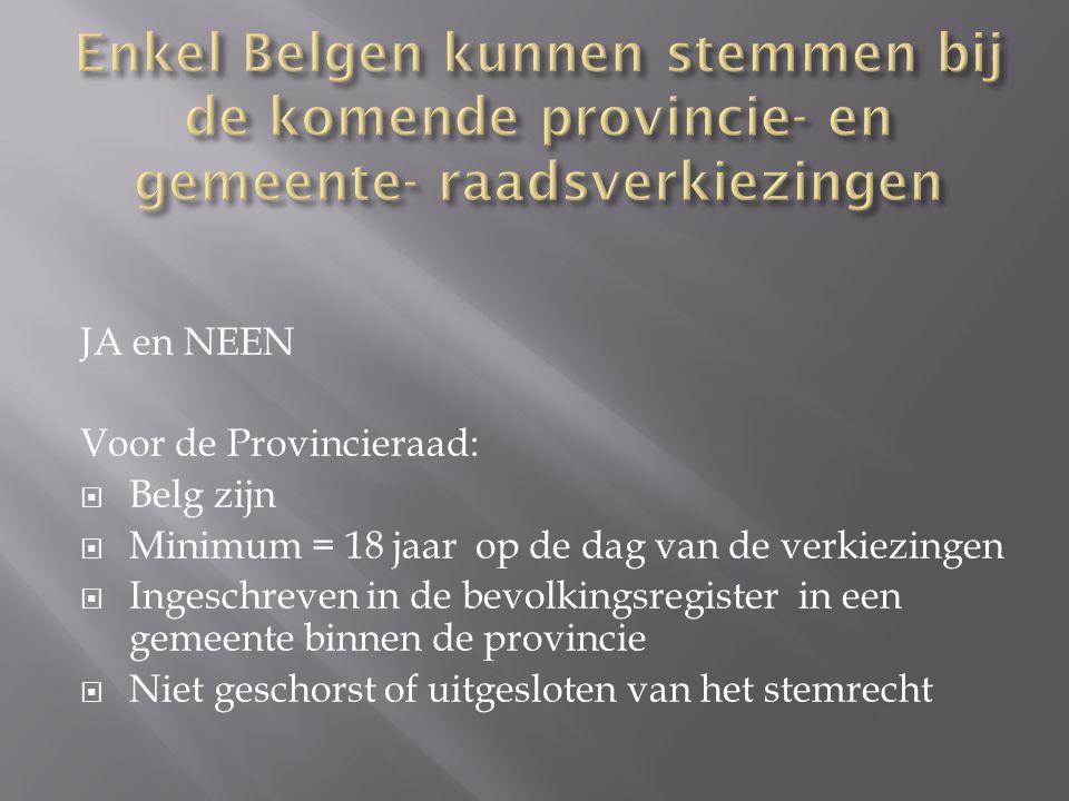  Neen  Maar voor Belgen  OPKOMSTPLICHT = Verplicht om naar het stembureau te gaan  18 jaar  Ingeschreven in de gemeente  Niet geschorst of uitgesloten van het stemrecht  Uitzonderingen: EU onderdanen en Niet EU- onderdanen