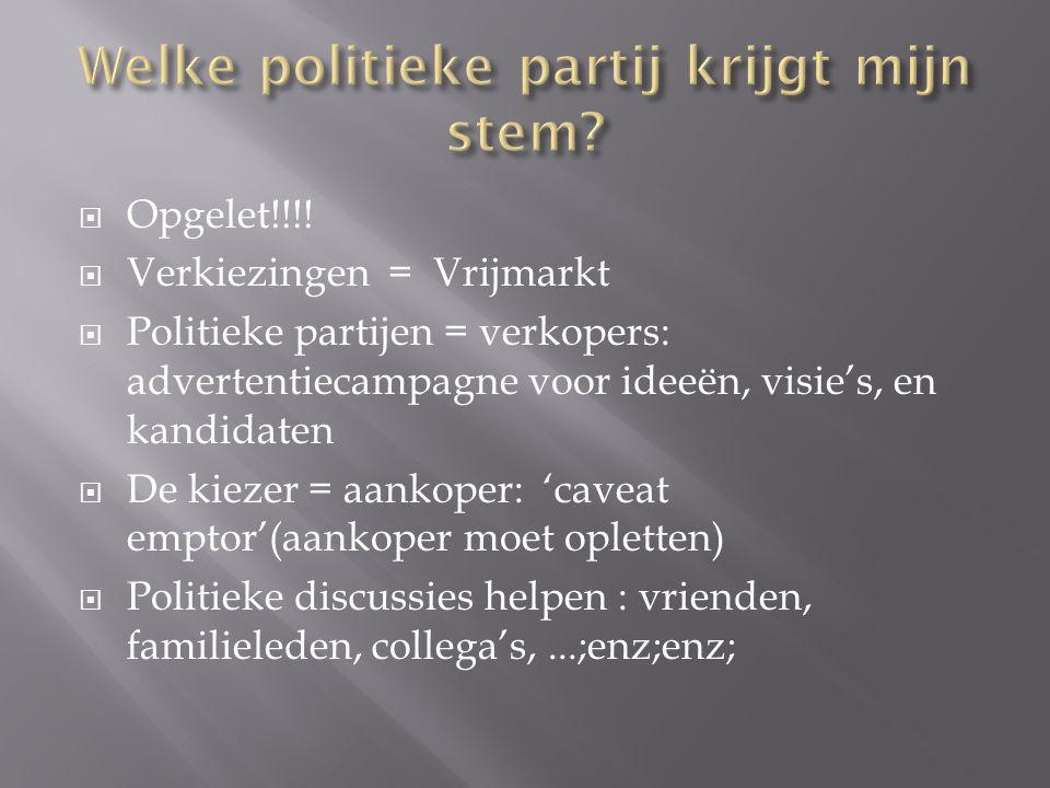  Opgelet!!!!  Verkiezingen = Vrijmarkt  Politieke partijen = verkopers: advertentiecampagne voor ideeën, visie's, en kandidaten  De kiezer = aanko