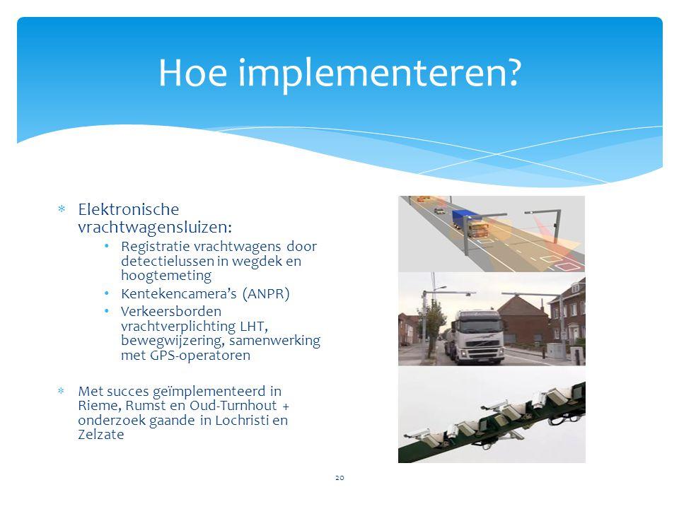 Hoe implementeren? 20  Elektronische vrachtwagensluizen: • Registratie vrachtwagens door detectielussen in wegdek en hoogtemeting • Kentekencamera's