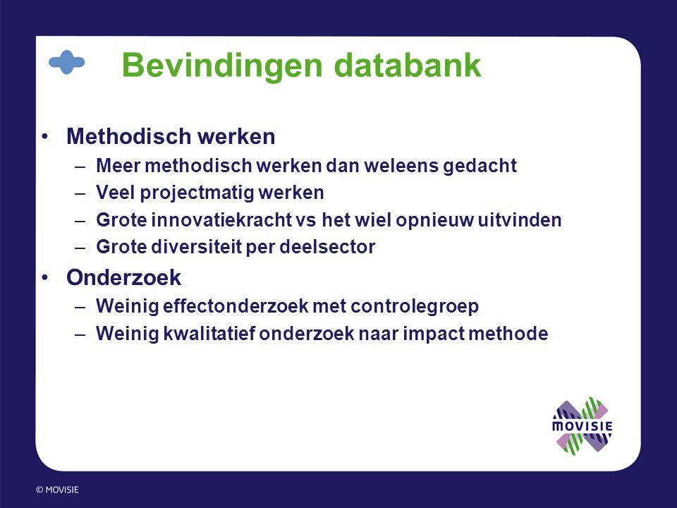 Bevindingen databank •Methodisch werken –Meer methodisch werken dan weleens gedacht –Veel projectmatig werken –Grote innovatiekracht vs het wiel opnie