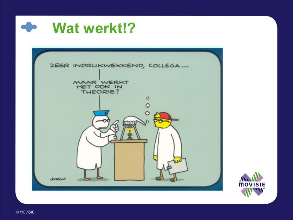 Lopend onderzoek •20 Onderzoeken •Vier voorbeelden: –Randomized controlled trial EVC voor vrijwilligers (Trimbos-instituut/Harry Michon) –Theory of Change toegepast op Programma Praktijkbegeleiding van Bureau Frontlijn (Risbo en EUR/Erik Snel) –Realistic evaluation toegepast op enkele activeringspraktijken op breukvlak Wmo en Wwb (Universiteit Utrecht/Trudie Knijn) –Kwalitatief onderzoek naar werkzaamheid Maatschappelijke Activeringscentra (MACs) van RADAR (Universiteit Leiden/Henk Wagenaar)