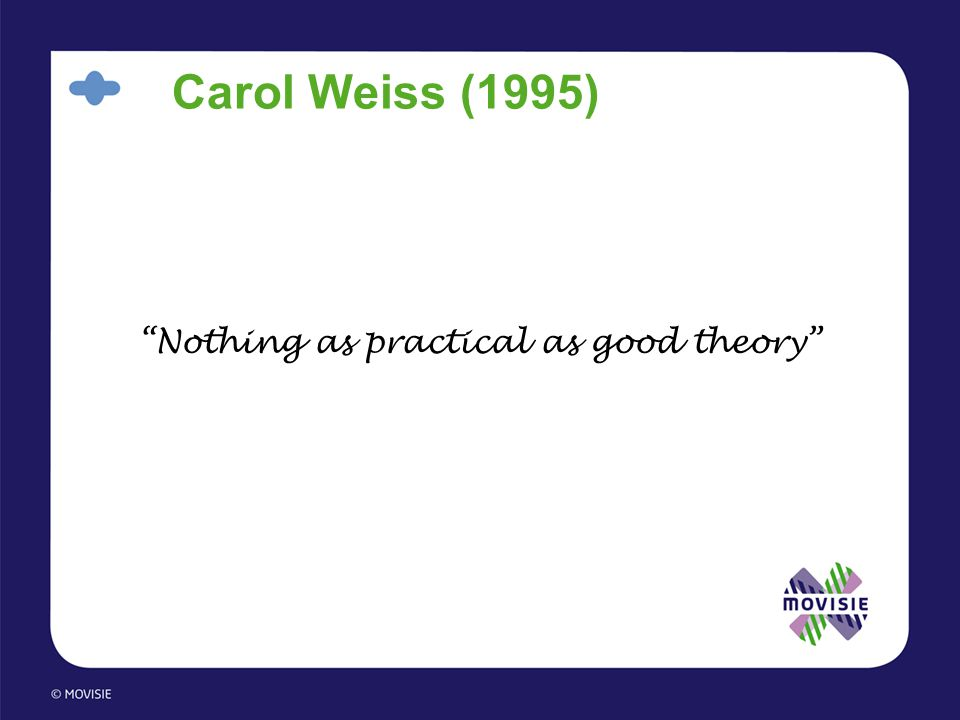"Carol Weiss (1995) ""Nothing as practical as good theory"""
