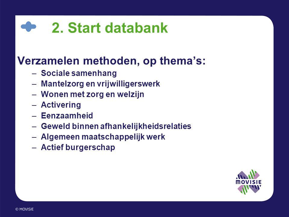 2. Start databank Verzamelen methoden, op thema's: –Sociale samenhang –Mantelzorg en vrijwilligerswerk –Wonen met zorg en welzijn –Activering –Eenzaam
