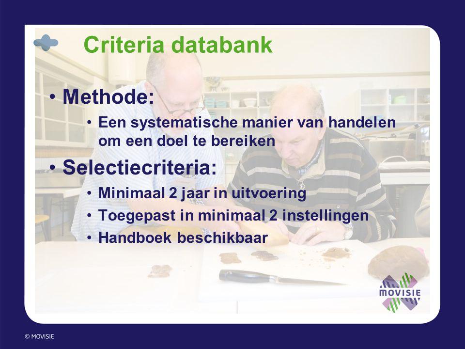 Criteria databank •Methode: •Een systematische manier van handelen om een doel te bereiken •Selectiecriteria: •Minimaal 2 jaar in uitvoering •Toegepas