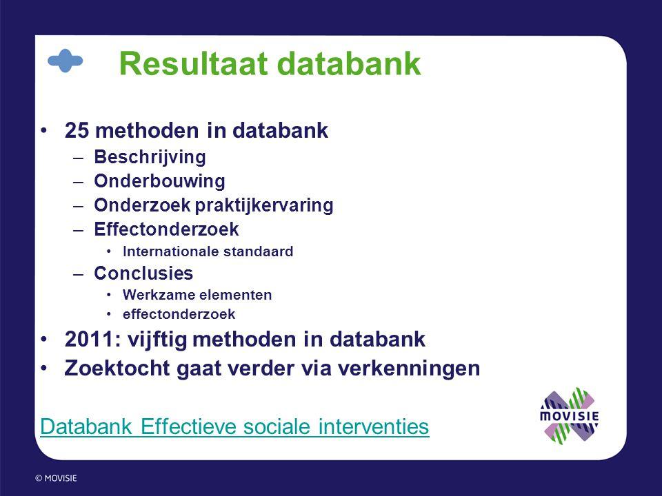 Resultaat databank •25 methoden in databank –Beschrijving –Onderbouwing –Onderzoek praktijkervaring –Effectonderzoek •Internationale standaard –Conclu