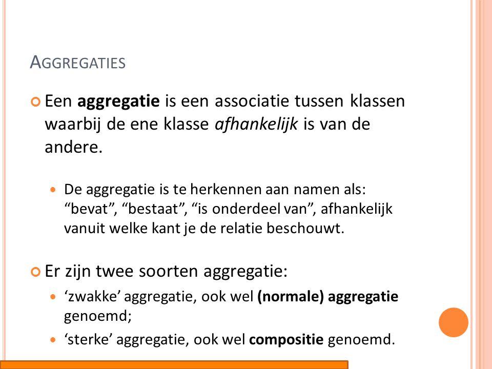 A GGREGATIES Een aggregatie is een associatie tussen klassen waarbij de ene klasse afhankelijk is van de andere.  De aggregatie is te herkennen aan n
