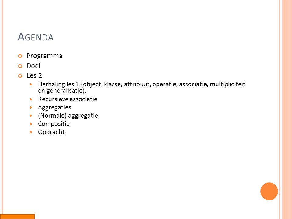 A GENDA Programma Doel Les 2  Herhaling les 1 (object, klasse, attribuut, operatie, associatie, multipliciteit en generalisatie).  Recursieve associ