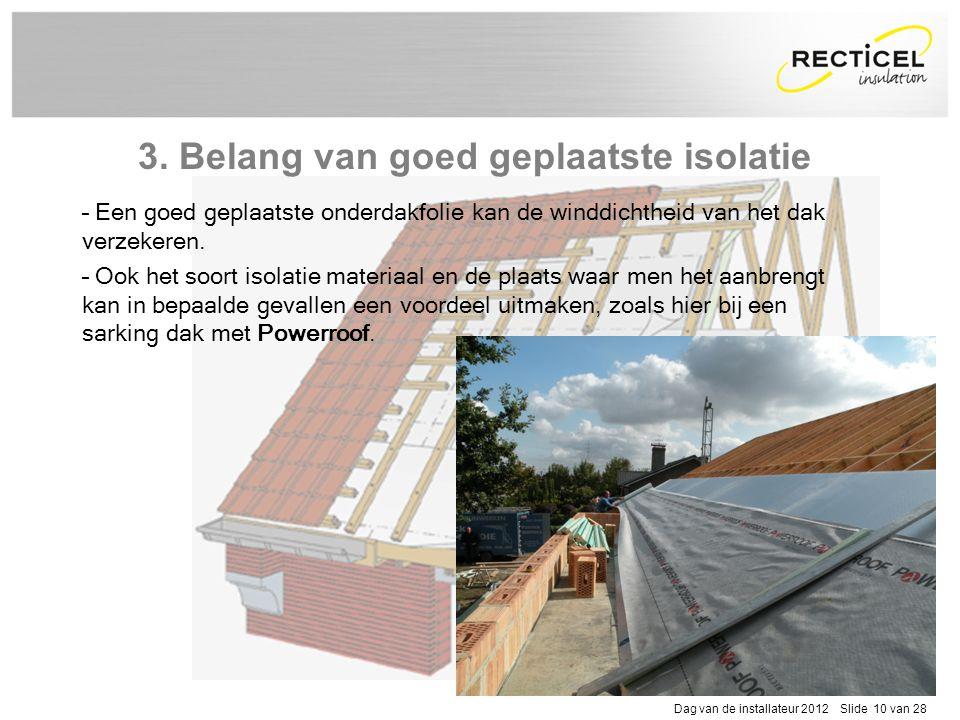 Dag van de installateur 2012 Slide 10 van 28 – Een goed geplaatste onderdakfolie kan de winddichtheid van het dak verzekeren. – Ook het soort isolatie