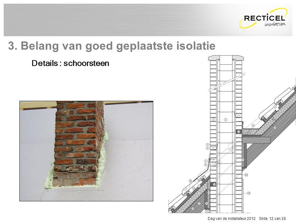 Dag van de installateur 2012 Slide 12 van 28 Details : schoorsteen 3. Belang van goed geplaatste isolatie