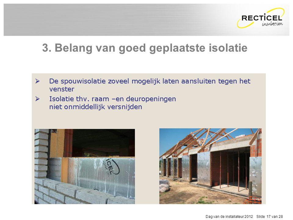 Dag van de installateur 2012 Slide 17 van 28 3. Belang van goed geplaatste isolatie