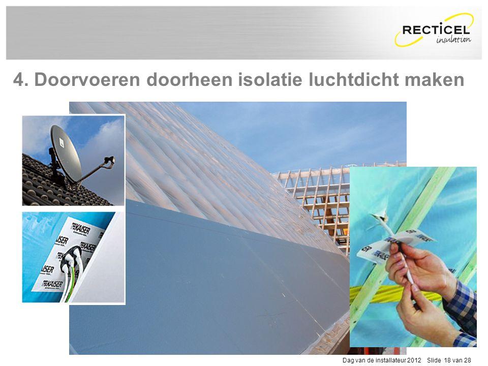 Dag van de installateur 2012 Slide 18 van 28 4. Doorvoeren doorheen isolatie luchtdicht maken