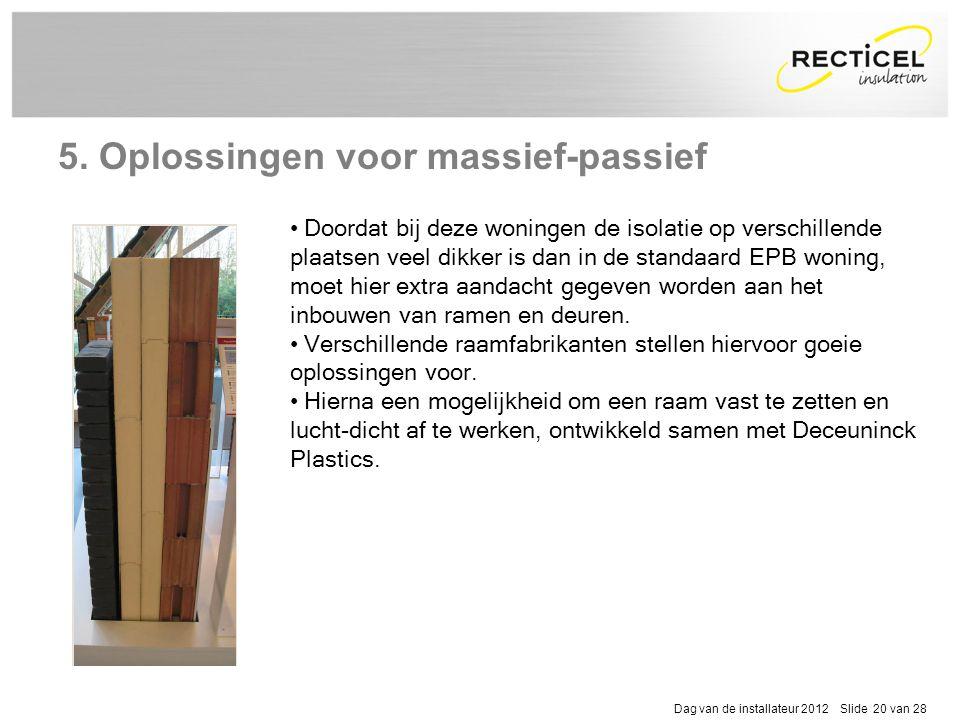 Dag van de installateur 2012 Slide 20 van 28 5. Oplossingen voor massief-passief • Doordat bij deze woningen de isolatie op verschillende plaatsen vee