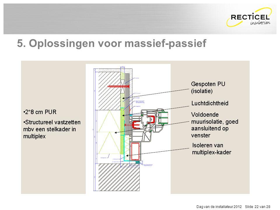 Dag van de installateur 2012 Slide 22 van 28 5. Oplossingen voor massief-passief