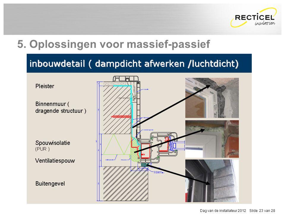 Dag van de installateur 2012 Slide 23 van 28 5. Oplossingen voor massief-passief