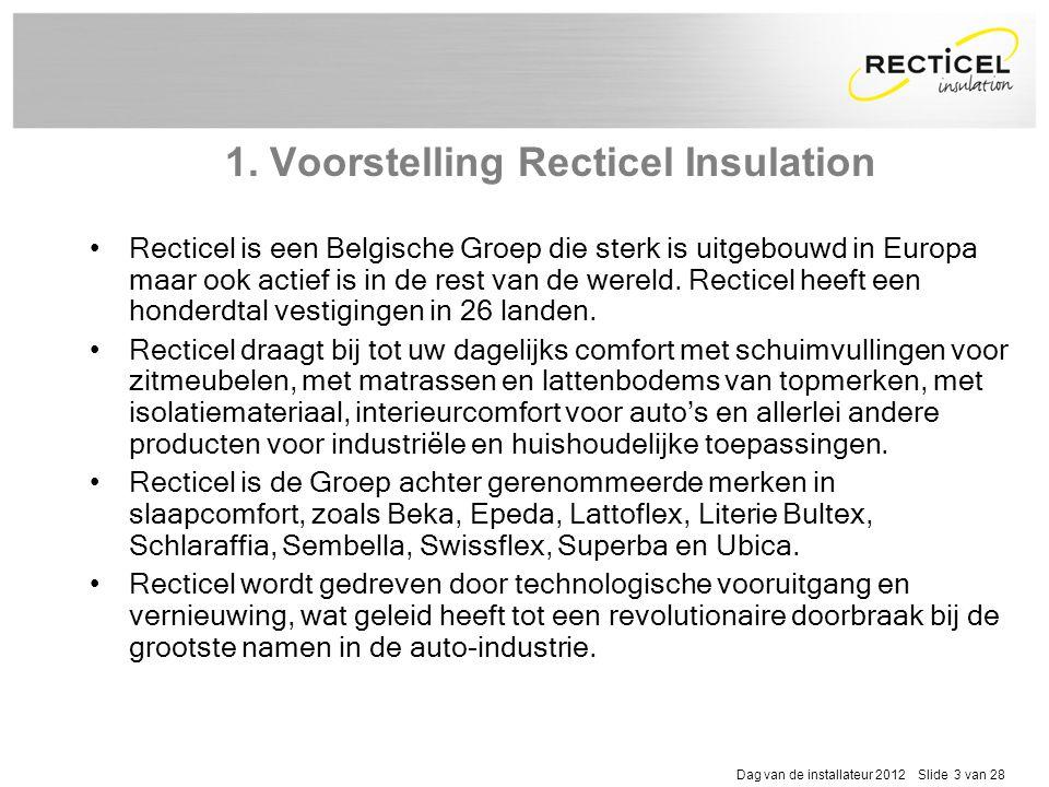 Dag van de installateur 2012 Slide 3 van 28 1. Voorstelling Recticel Insulation •Recticel is een Belgische Groep die sterk is uitgebouwd in Europa maa