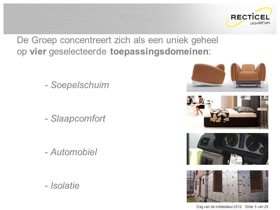 Dag van de installateur 2012 Slide 5 van 28 De Groep concentreert zich als een uniek geheel op vier geselecteerde toepassingsdomeinen: - Soepelschuim