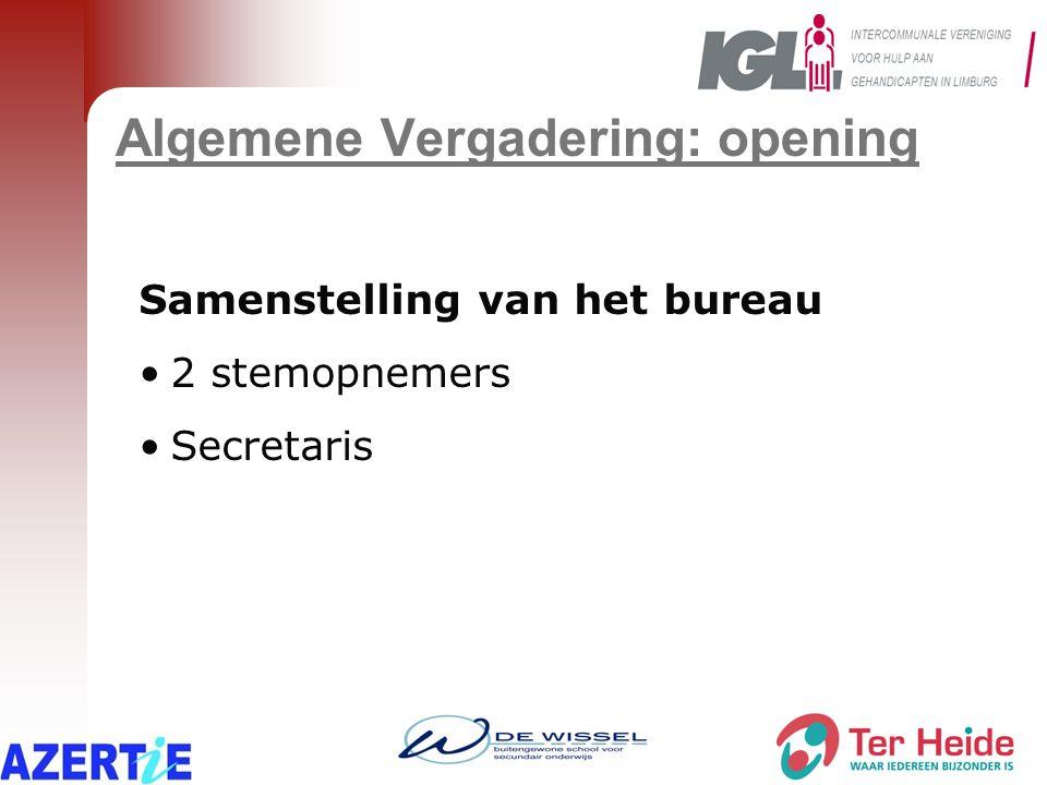 Algemene Vergadering: opening Van de volgende deelnemers werd de volmacht laattijdig ontvangen: LeopoldsburgProvincie Limburg RiemstMaasmechelen