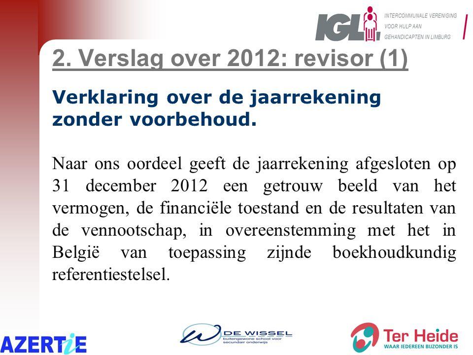 2. Verslag over 2012: revisor (1) Verklaring over de jaarrekening zonder voorbehoud. Naar ons oordeel geeft de jaarrekening afgesloten op 31 december
