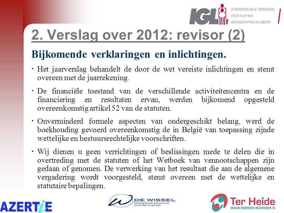 2. Verslag over 2012: revisor (2) Bijkomende verklaringen en inlichtingen.  Het jaarverslag behandelt de door de wet vereiste inlichtingen en stemt o
