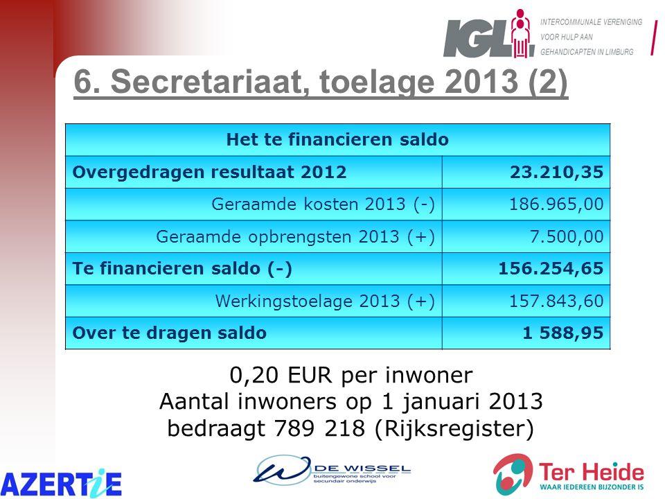 6. Secretariaat, toelage 2013 (2) 0,20 EUR per inwoner Aantal inwoners op 1 januari 2013 bedraagt 789 218 (Rijksregister) Het te financieren saldo Ove