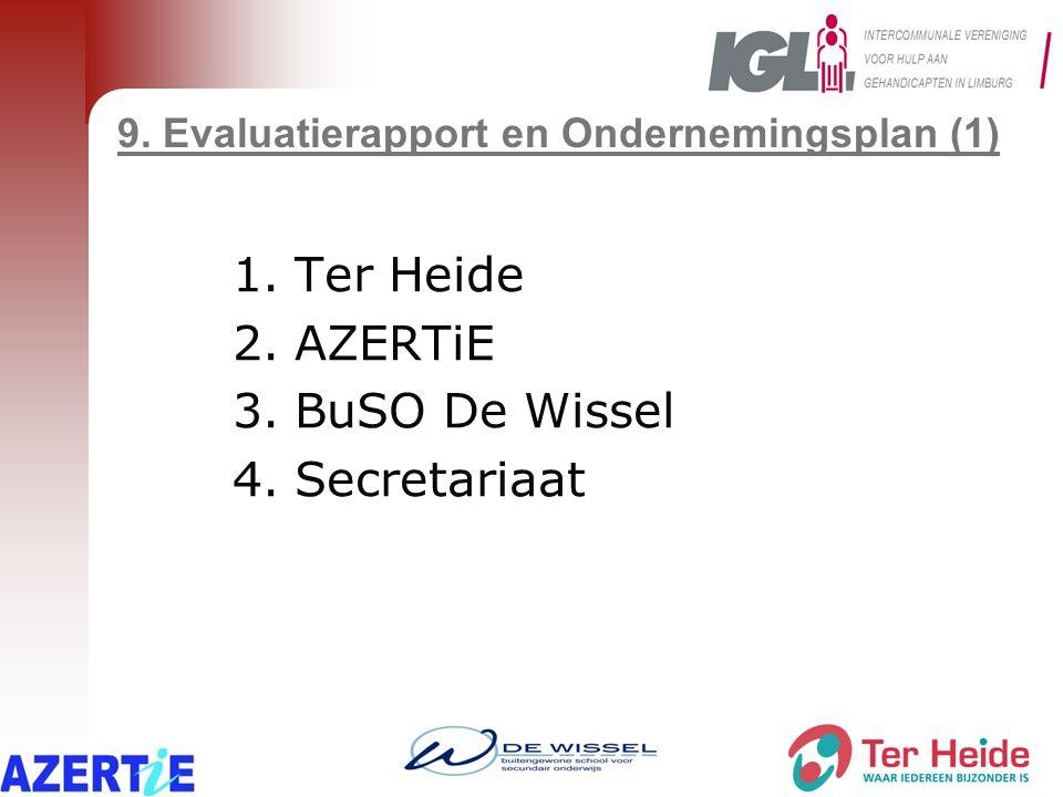 9. Evaluatierapport en Ondernemingsplan (1) 1.Ter Heide 2.AZERTiE 3.BuSO De Wissel 4.Secretariaat