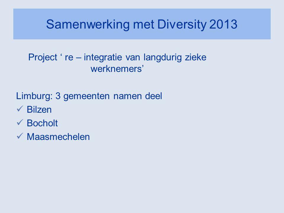 Samenwerking met Diversity 2013 Project ' re – integratie van langdurig zieke werknemers' Limburg: 3 gemeenten namen deel  Bilzen  Bocholt  Maasmec