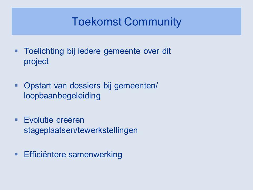 Toekomst Community  Toelichting bij iedere gemeente over dit project  Opstart van dossiers bij gemeenten/ loopbaanbegeleiding  Evolutie creëren sta