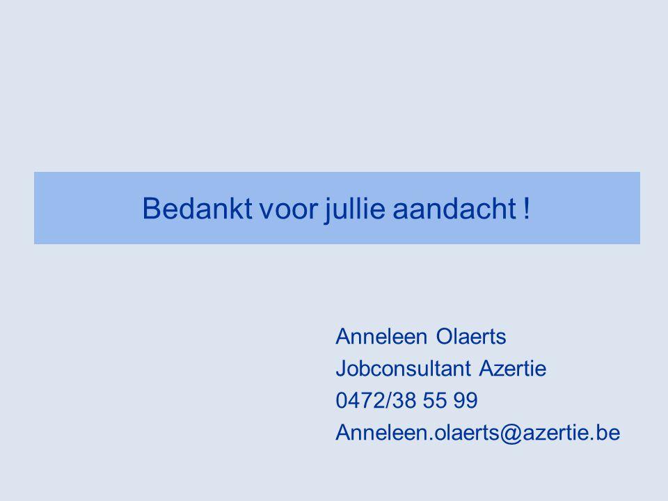 Bedankt voor jullie aandacht ! Anneleen Olaerts Jobconsultant Azertie 0472/38 55 99 Anneleen.olaerts@azertie.be