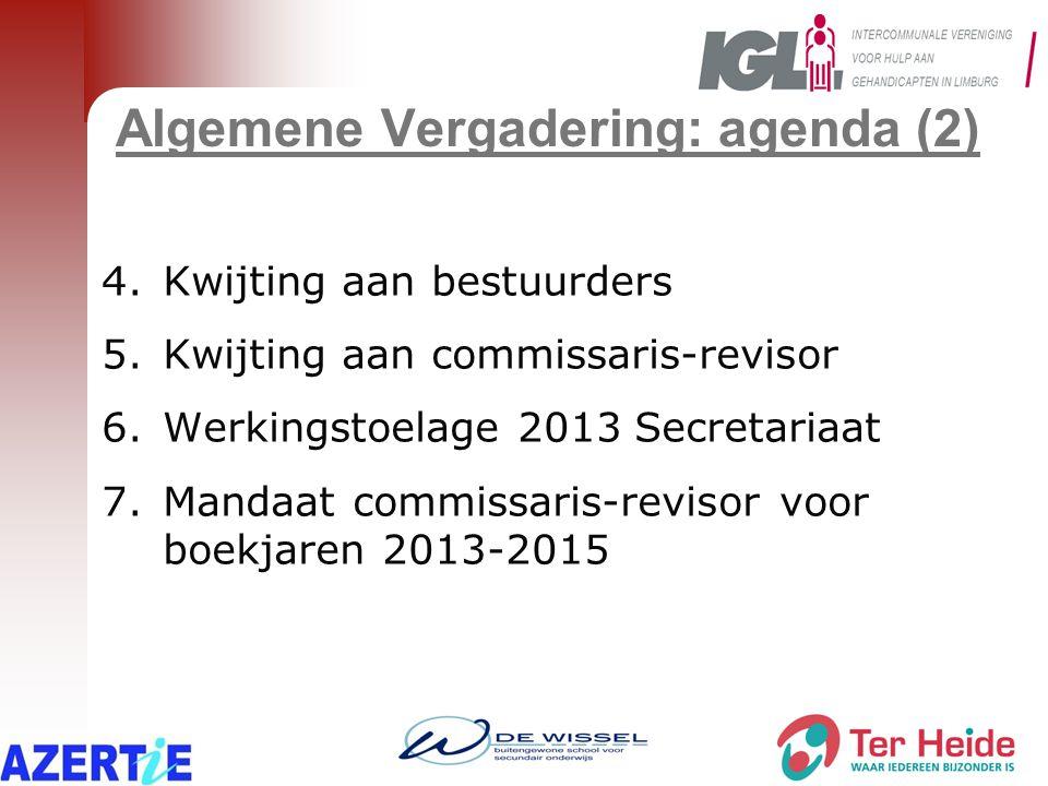 Algemene Vergadering: agenda (2) 4.Kwijting aan bestuurders 5.Kwijting aan commissaris-revisor 6.Werkingstoelage 2013 Secretariaat 7.Mandaat commissar
