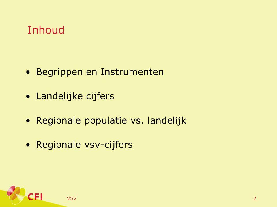 VSV2 Inhoud •Begrippen en Instrumenten •Landelijke cijfers •Regionale populatie vs.