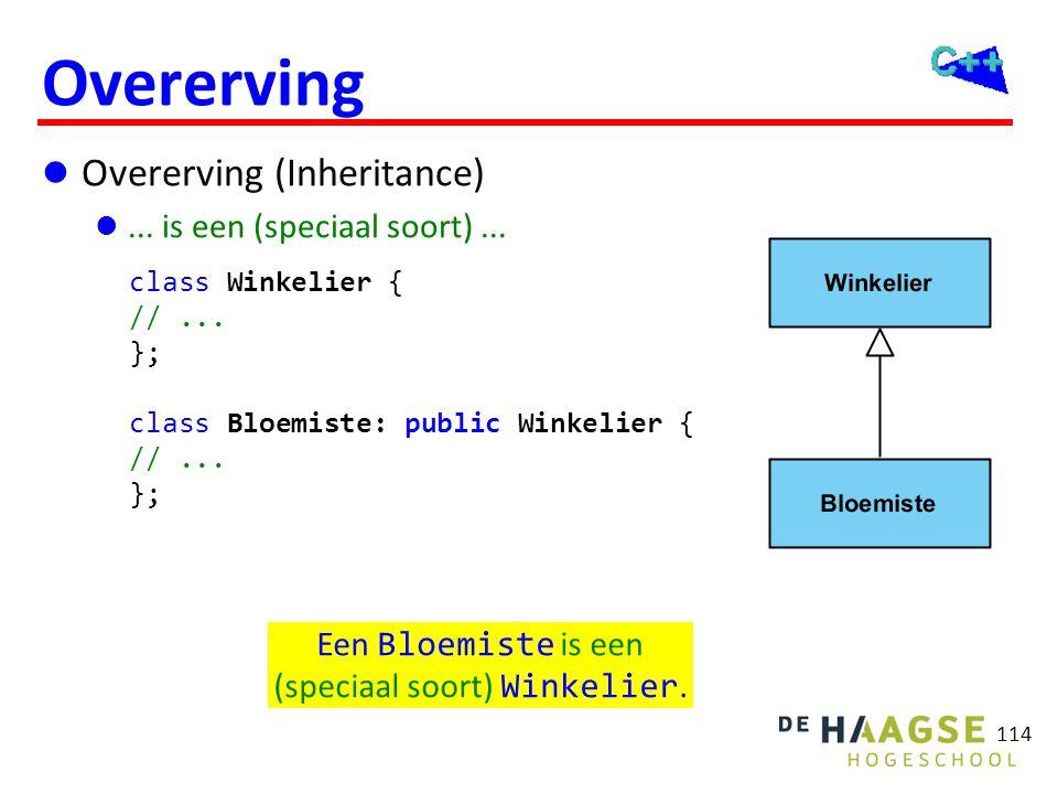 114 Overerving  Overerving (Inheritance) ... is een (speciaal soort)... Een Bloemiste is een (speciaal soort) Winkelier. class Winkelier { //... };