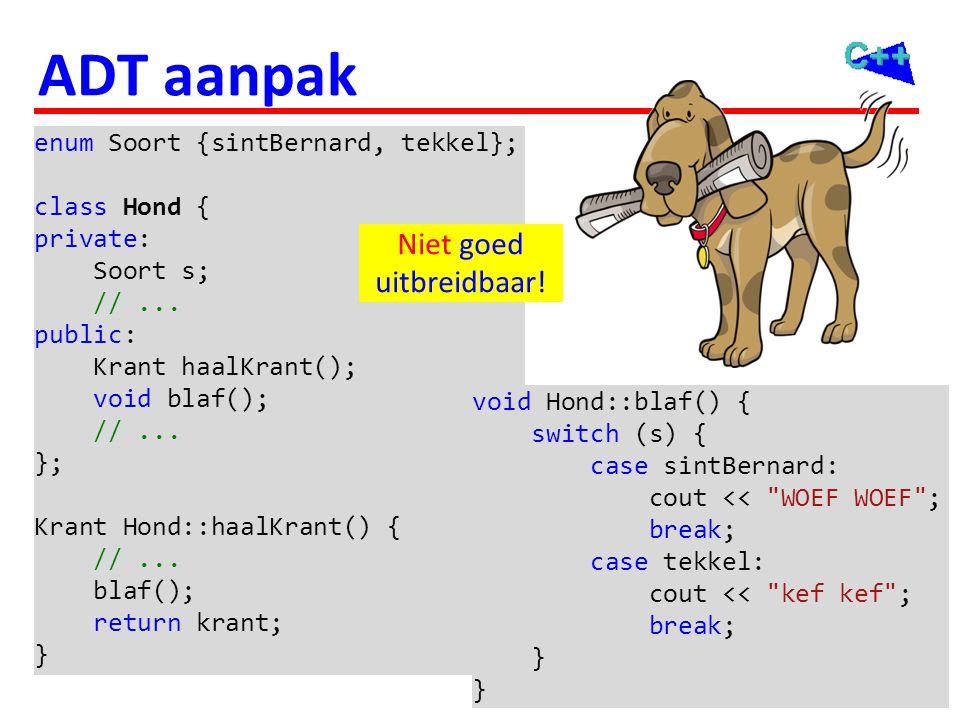 115 ADT aanpak enum Soort {sintBernard, tekkel}; class Hond { private: Soort s; //... public: Krant haalKrant(); void blaf(); //... }; Krant Hond::haa