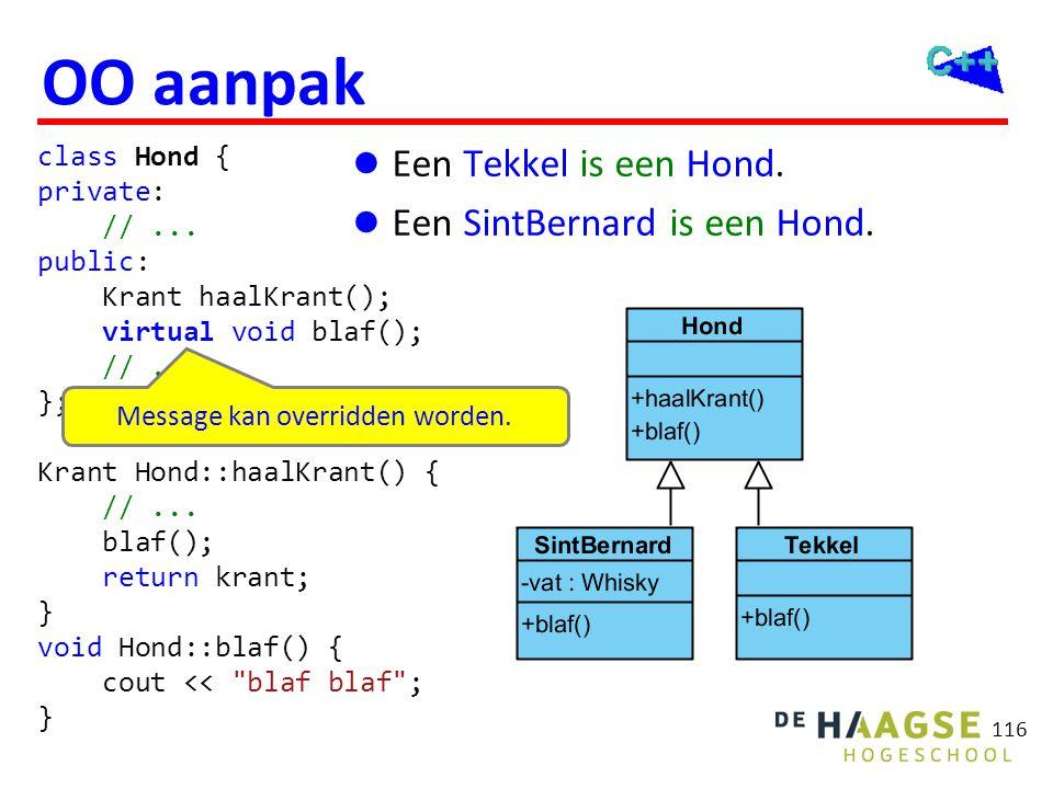 116 OO aanpak  Een Tekkel is een Hond.  Een SintBernard is een Hond. class Hond { private: //... public: Krant haalKrant(); virtual void blaf(); //.