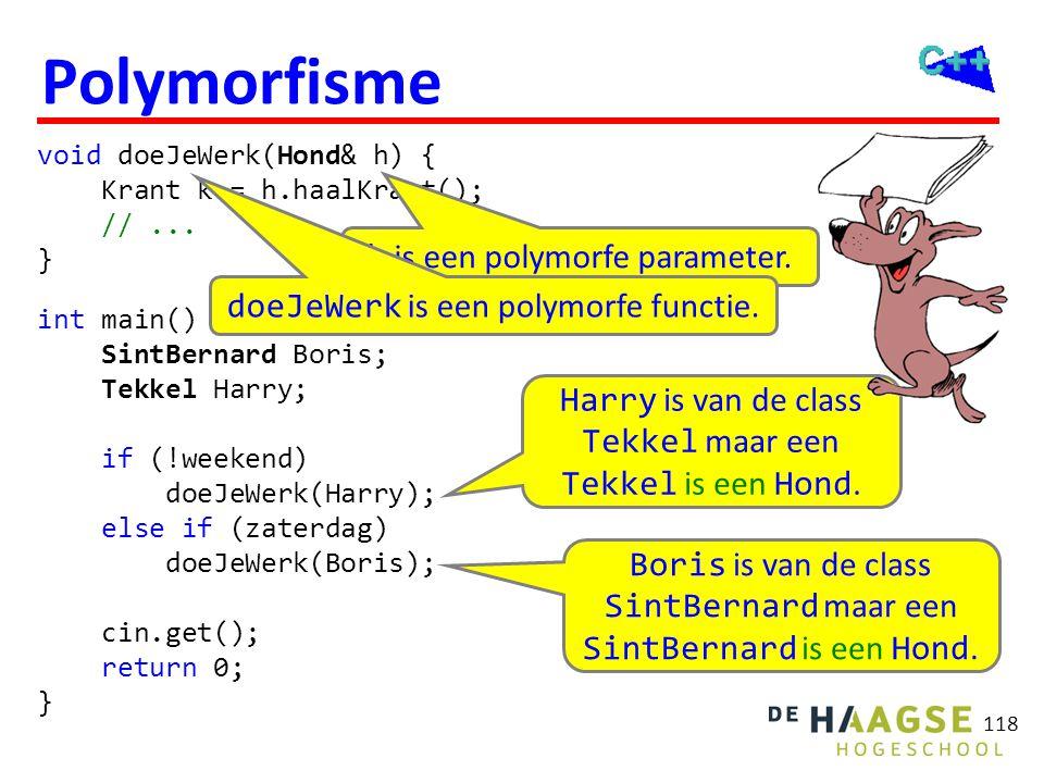 118 Polymorfisme void doeJeWerk(Hond& h) { Krant k = h.haalKrant(); //... } int main() { SintBernard Boris; Tekkel Harry; if (!weekend) doeJeWerk(Harr