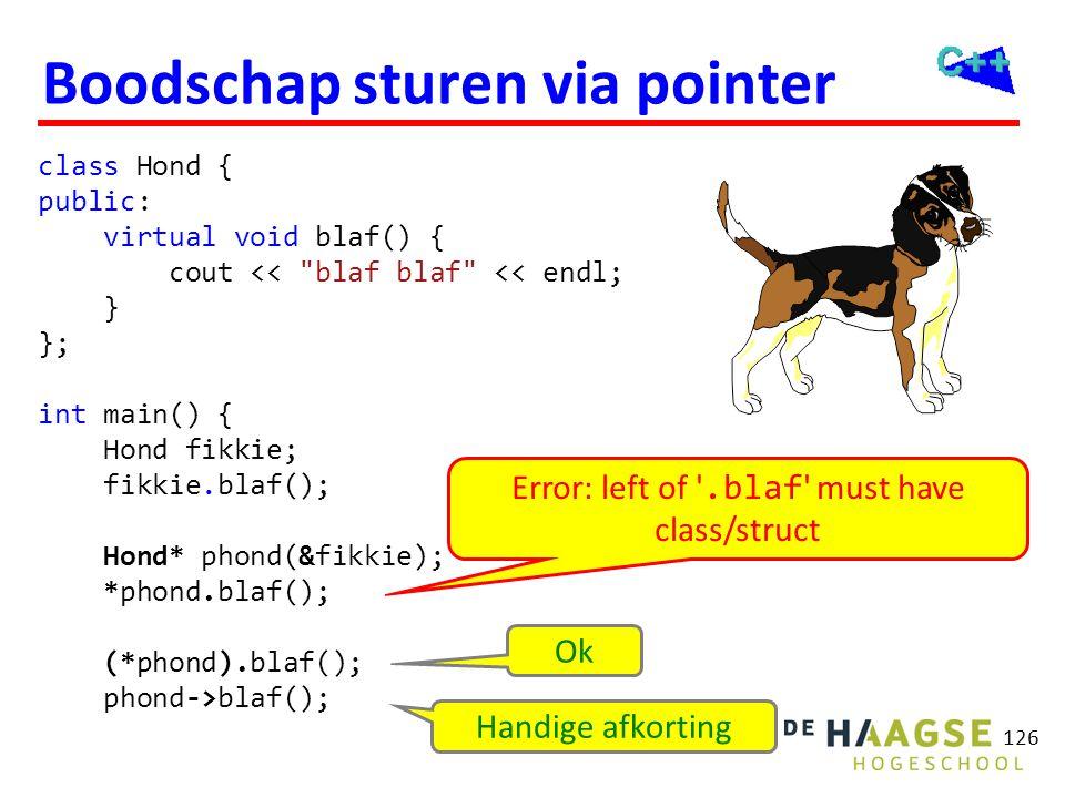 126 Boodschap sturen via pointer class Hond { public: virtual void blaf() { cout <<
