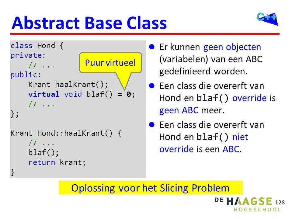 128 Abstract Base Class  Er kunnen geen objecten (variabelen) van een ABC gedefinieerd worden.  Een class die overerft van Hond en blaf() override i