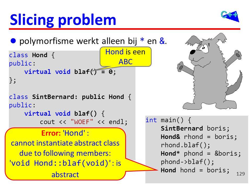 Slicing problem  polymorfisme werkt alleen bij * en &. int main() { SintBernard boris; Hond& rhond = boris; rhond.blaf(); Hond* phond = &boris; phond