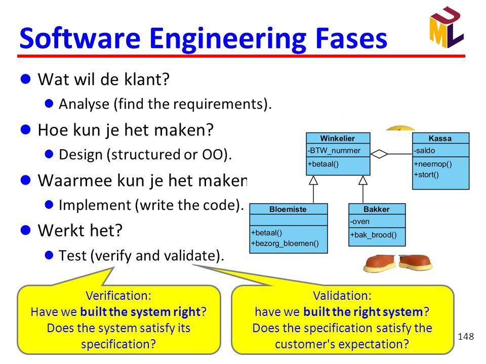 148 Software Engineering Fases  Wat wil de klant?  Analyse (find the requirements).  Hoe kun je het maken?  Design (structured or OO).  Waarmee k