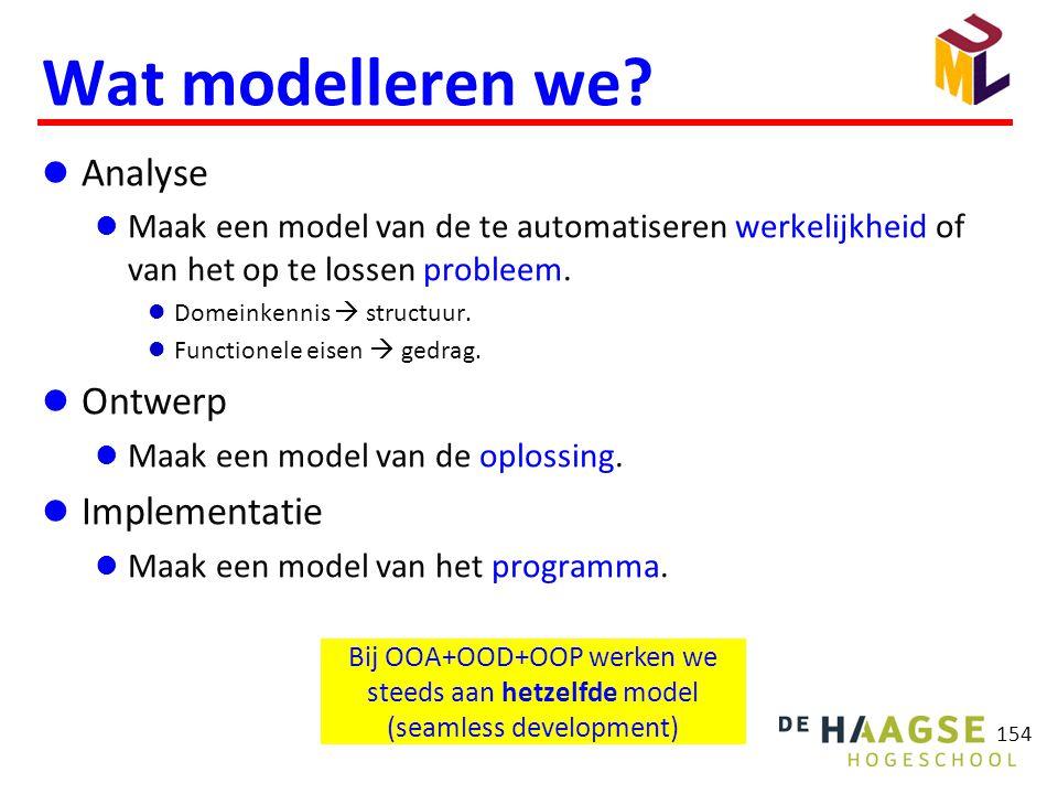 154 Wat modelleren we?  Analyse  Maak een model van de te automatiseren werkelijkheid of van het op te lossen probleem.  Domeinkennis  structuur.