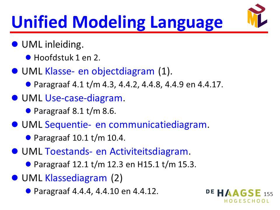 155 Unified Modeling Language  UML inleiding.  Hoofdstuk 1 en 2.  UML Klasse- en objectdiagram (1).  Paragraaf 4.1 t/m 4.3, 4.4.2, 4.4.8, 4.4.9 en