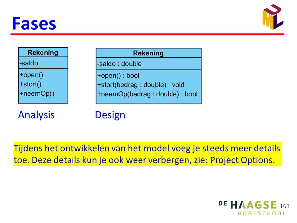 161 Fases AnalysisDesign Tijdens het ontwikkelen van het model voeg je steeds meer details toe. Deze details kun je ook weer verbergen, zie: Project O
