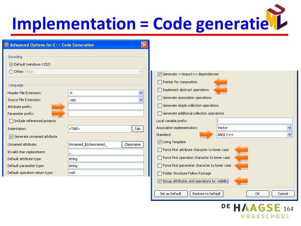 164 Implementation = Code generatie