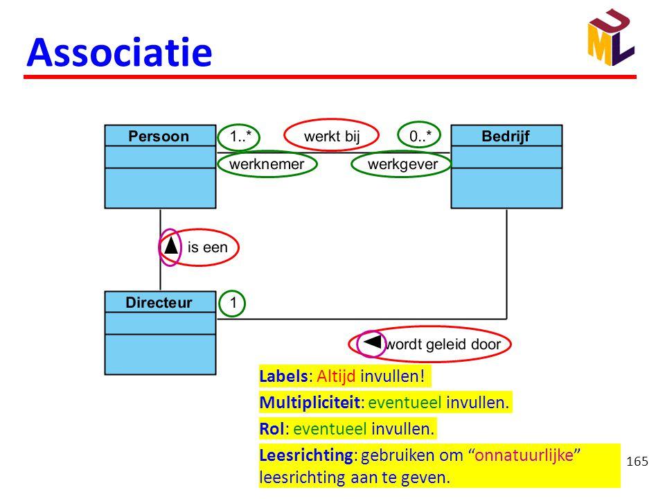 """165 Associatie Labels: Altijd invullen! Multipliciteit: eventueel invullen. Rol: eventueel invullen. Leesrichting: gebruiken om """"onnatuurlijke"""" leesri"""