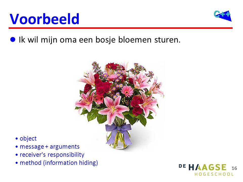 16 Voorbeeld  Ik wil mijn oma een bosje bloemen sturen. • object • message + arguments • receiver's responsibility • method (information hiding)